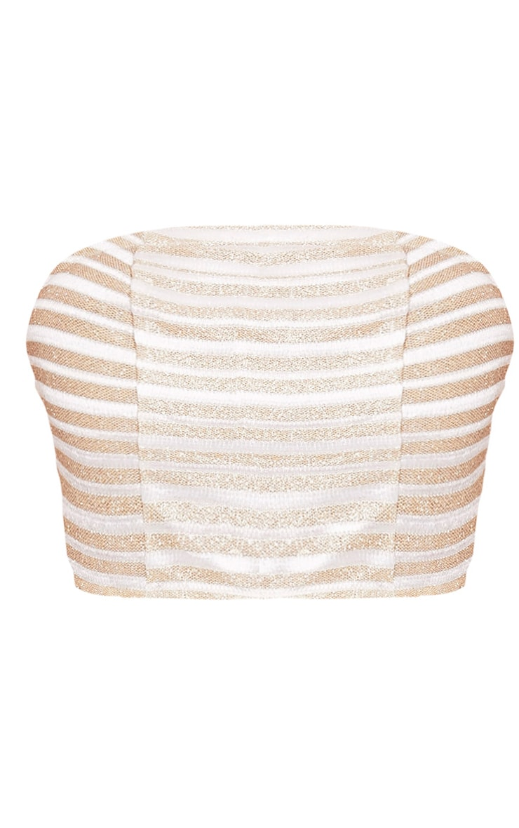 Lashelle White Sparkle Stripe Bandeau Top  3