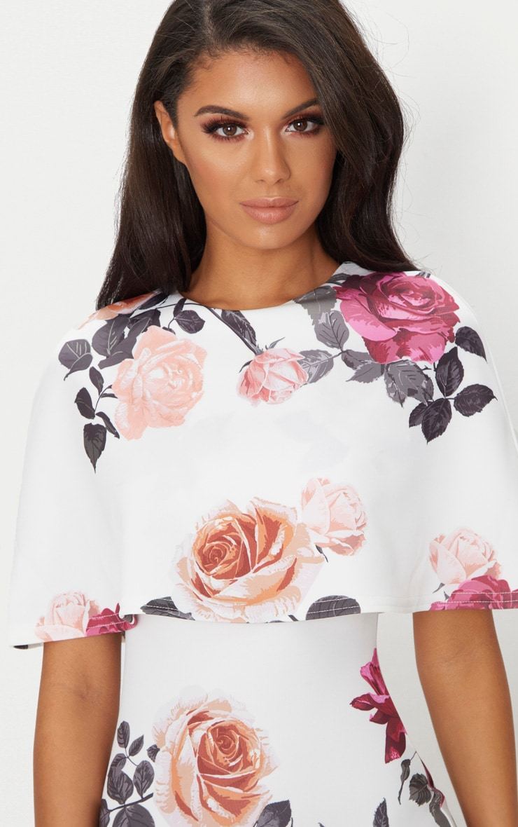 White Floral Print Cape Detail Midi Dress 5