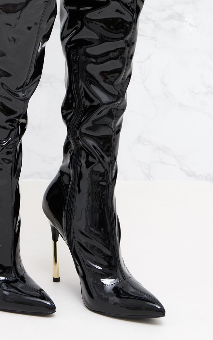 Black Patent Over The Knee Slim Heel Skin Boot 5