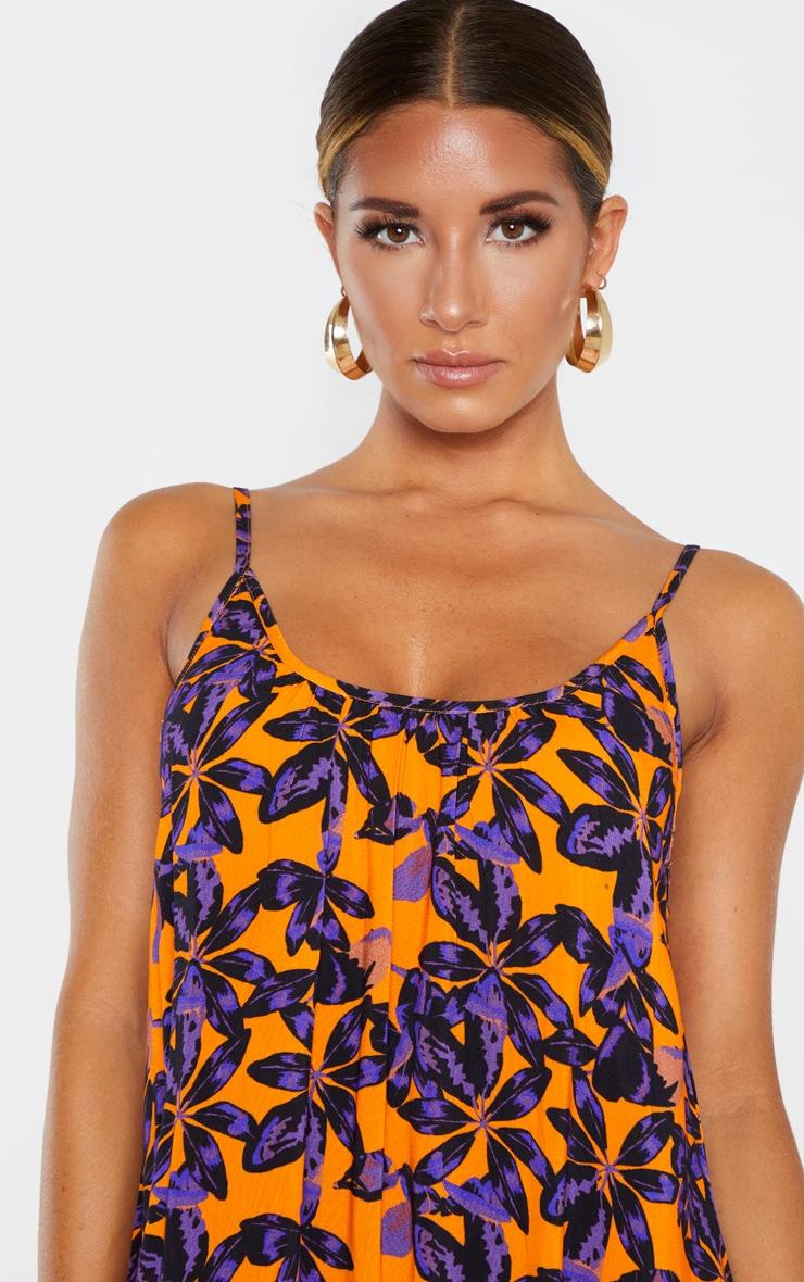 Orange Shadow Leaf Low Back Oversized Maxi Beach Dress 5