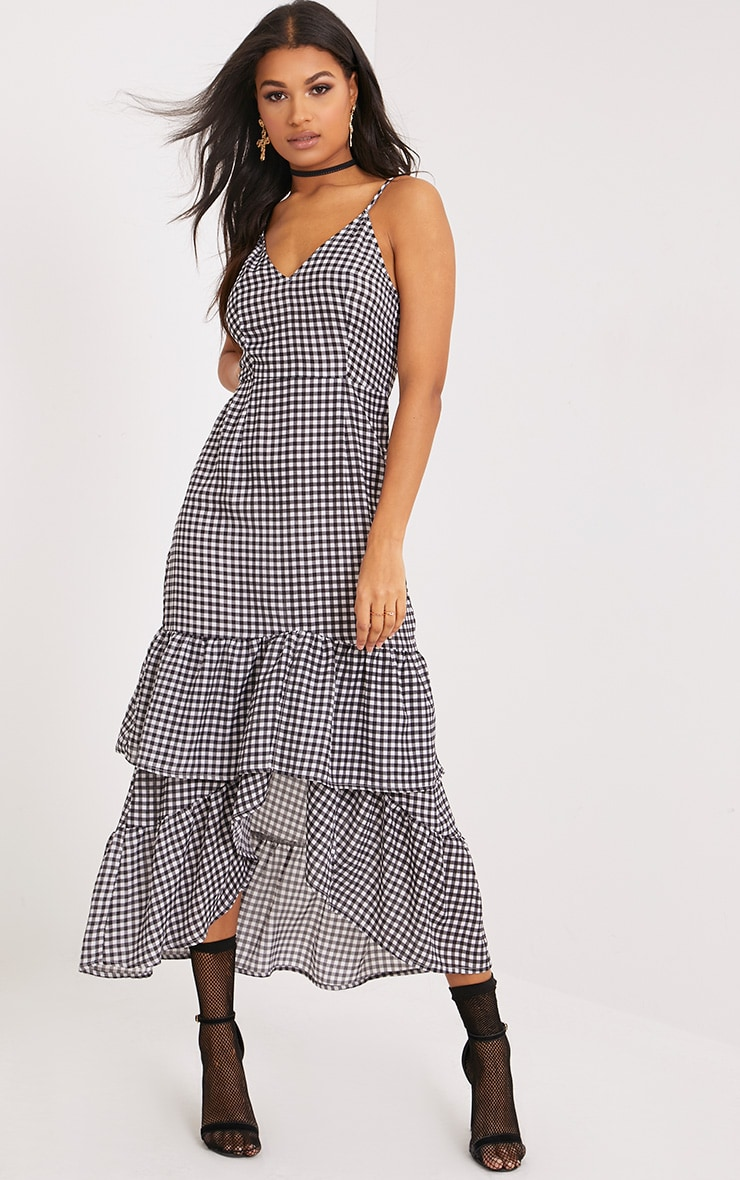 Kanayla Black Gingham Frill Midaxi Dress 1