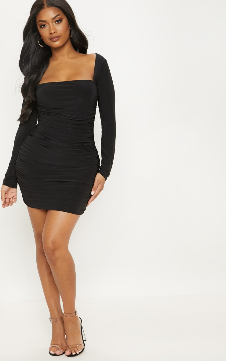 Shape Black Slinky Square Neck Ruched Front Bodycon Dress 4