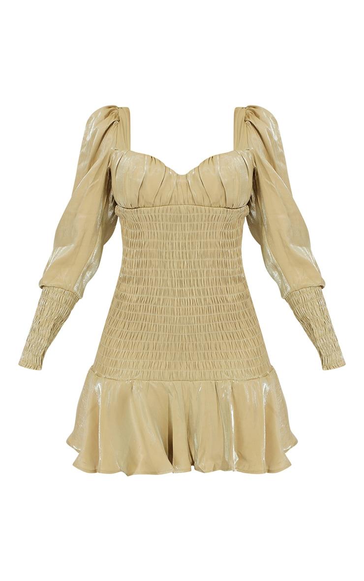 Sage Green Shirred Long Sleeve Frill Hem Shimmer Bodycon Dress 5
