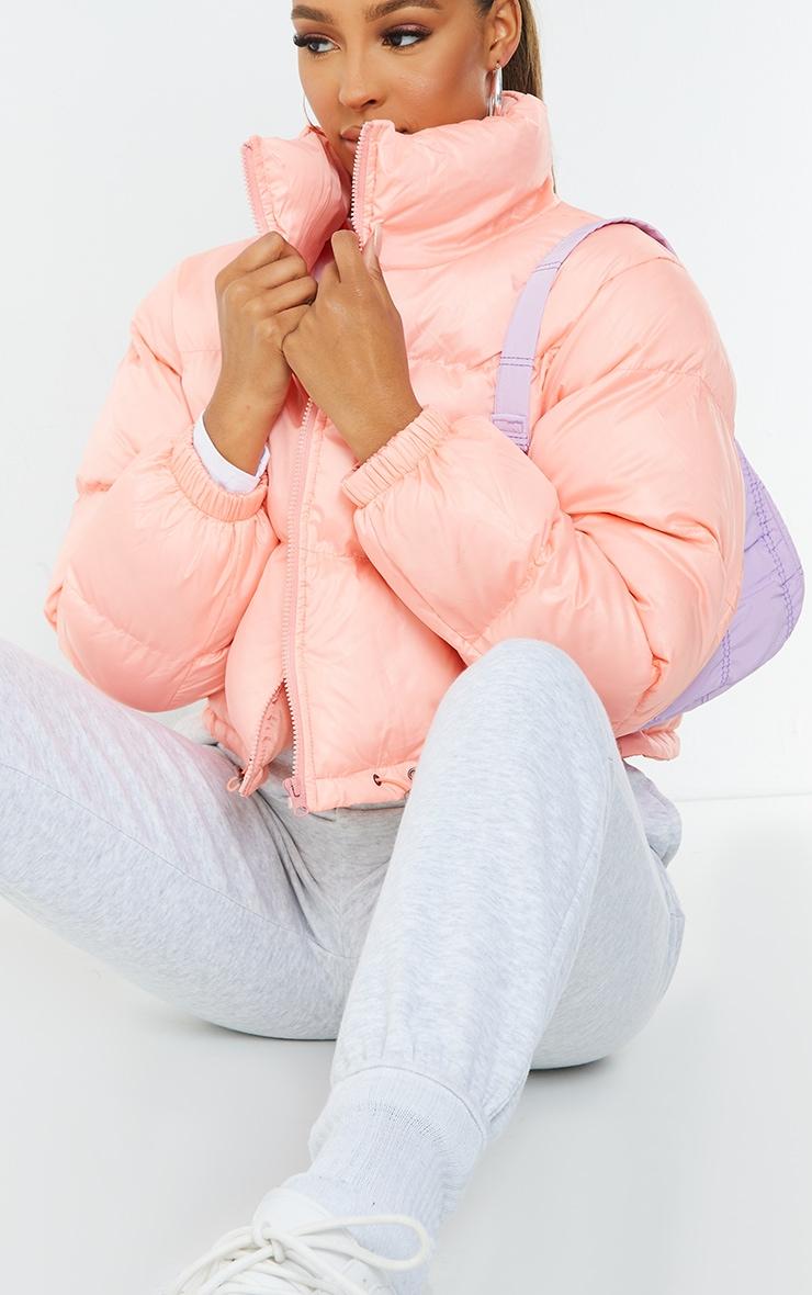 Peach Nylon Toggle Hem Puffer Jacket 4