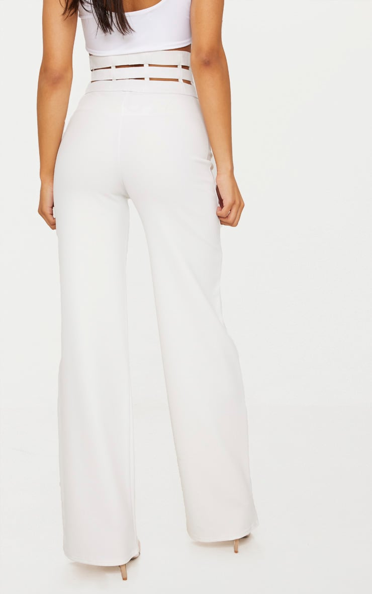 Cream Elastic Cage Detail Wide Leg Trouser 4