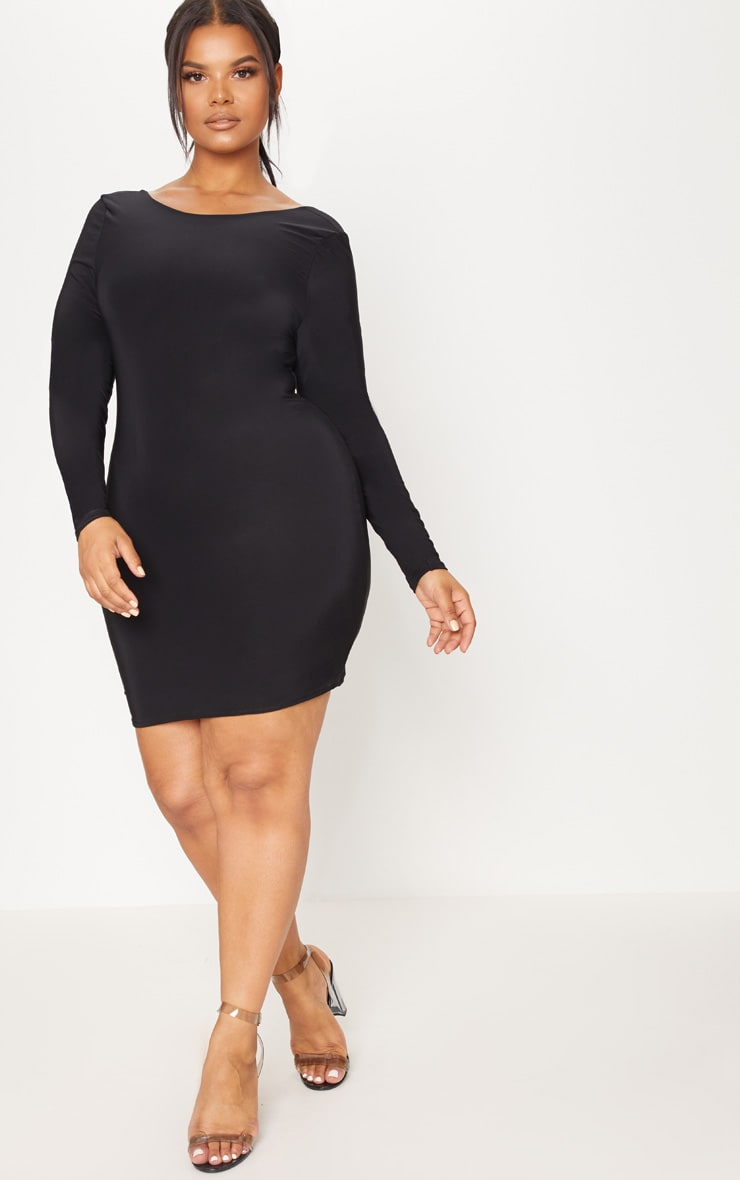 Plus Black Second Skin Slinky Scoop Back Bodycon Dress 4