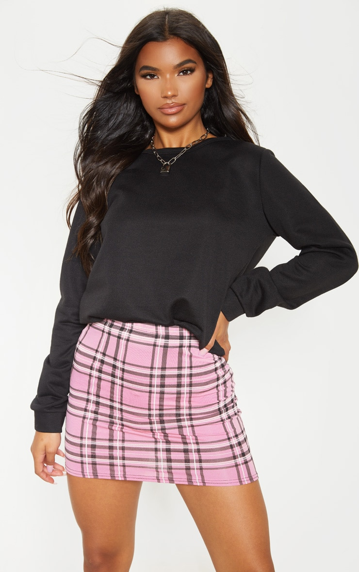 Dusty Pink Check Print Mini Skirt 5