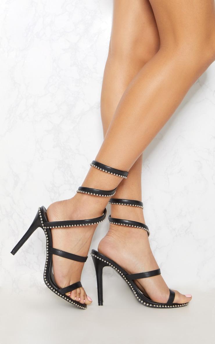 Black Studded Leg Wrap Sandal