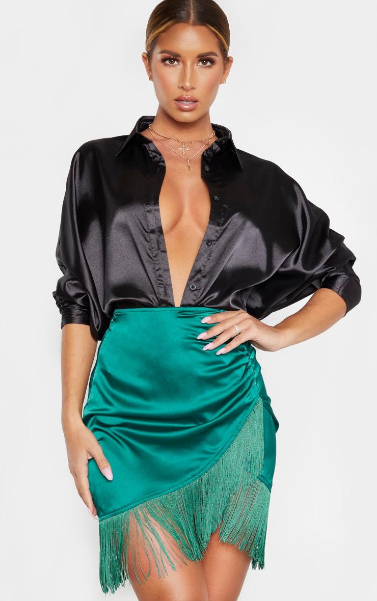 Emerald Green Satin Fringe Mini Skirt 1