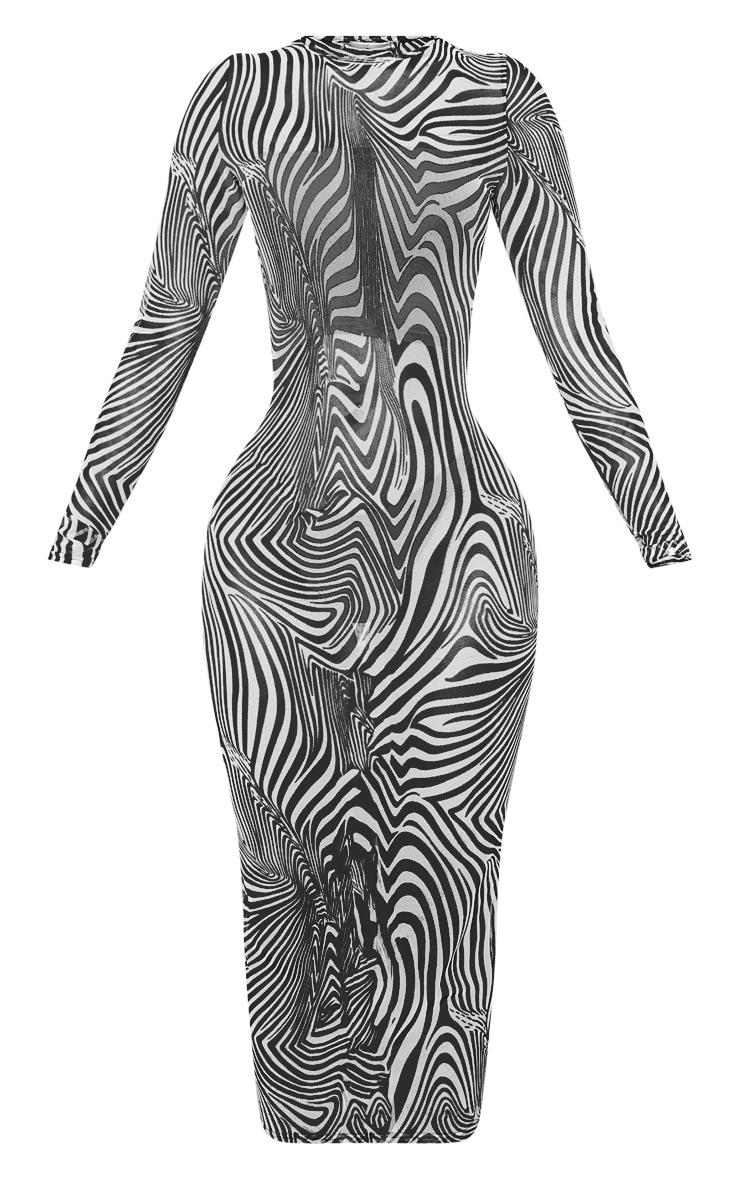 Shape White Zebra Print Sheer Mesh Long Sleeve Midaxi Dress 3