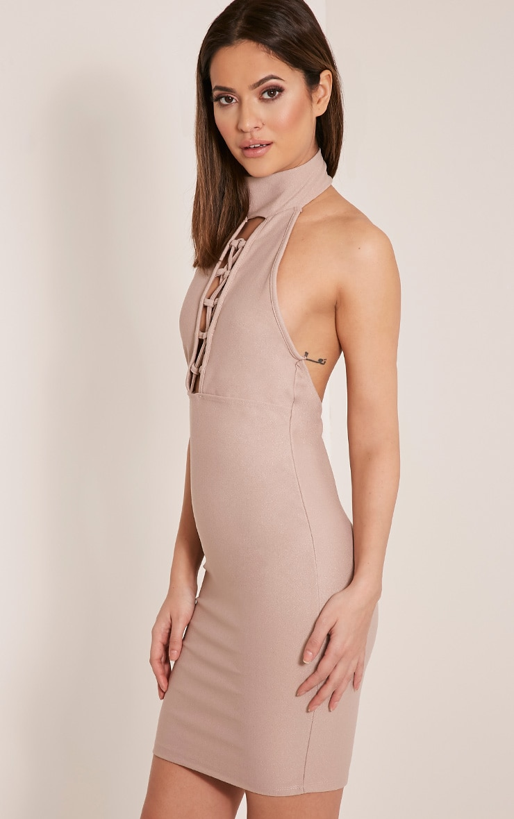 Jesseca Taupe Neck Detail Lace Up Crepe Bodycon Dress 4