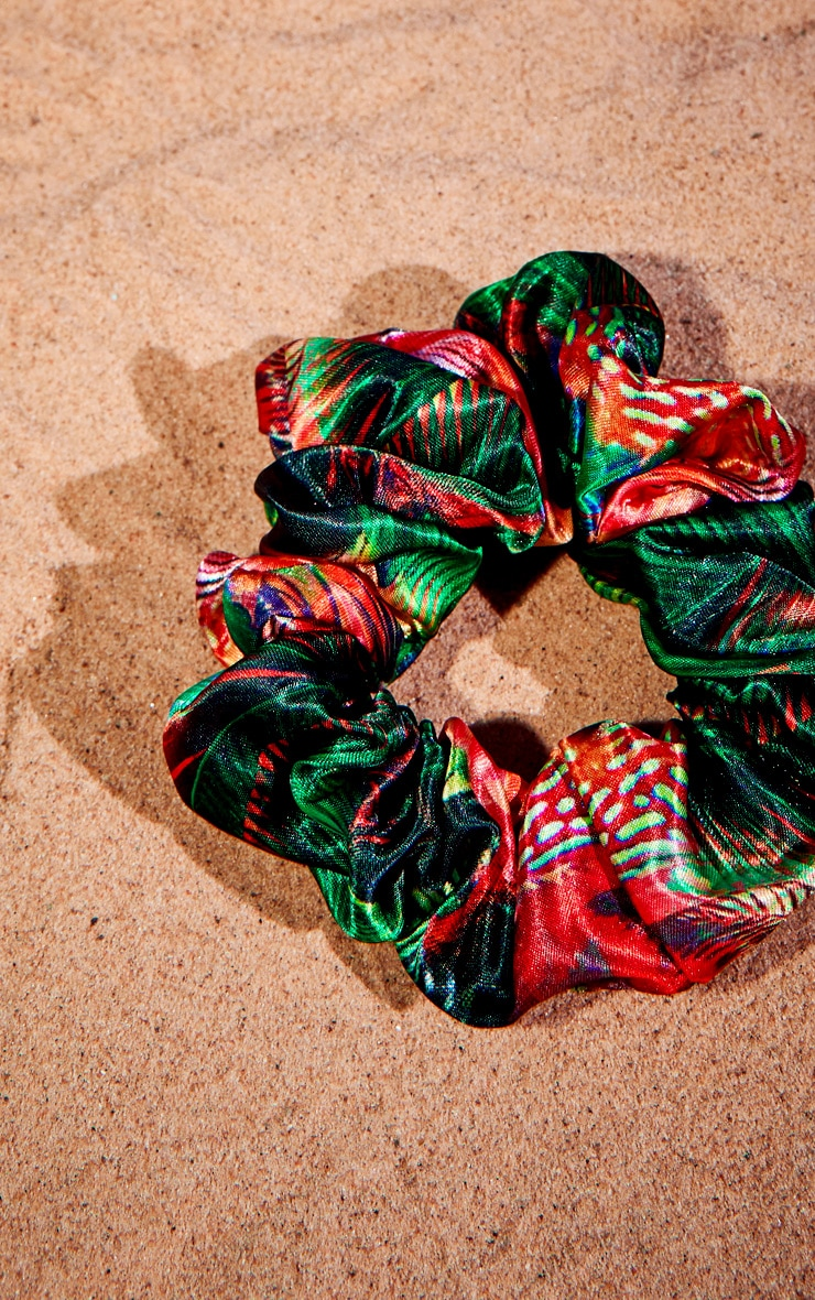 Jungle Print Satin Scrunchie 3