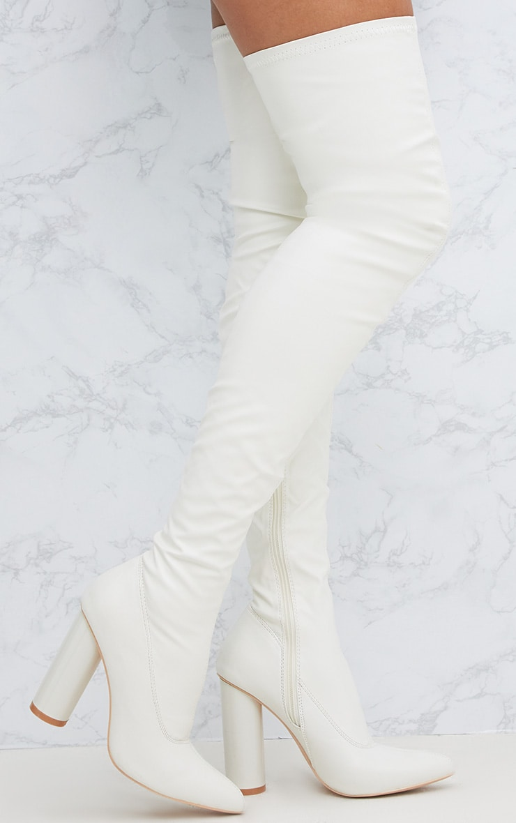 White PU Thigh Boot 1