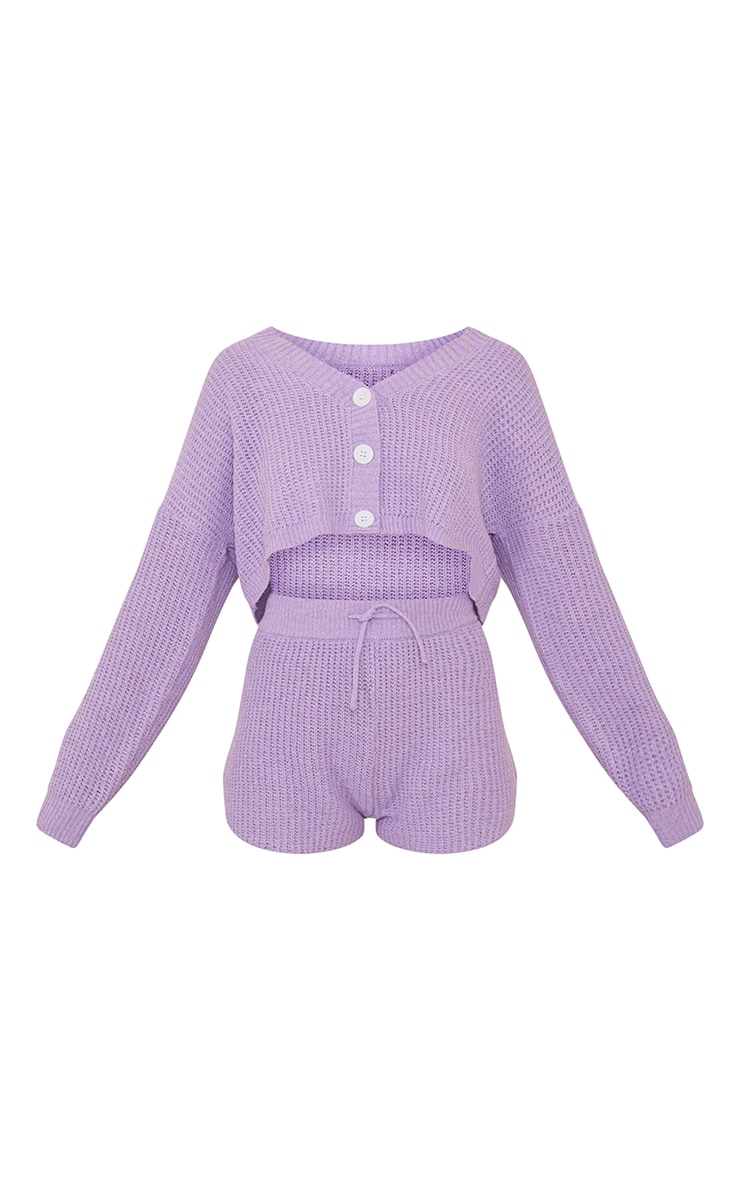 Lilac Button Up Ribbed Knitted Short Lounge Set 5