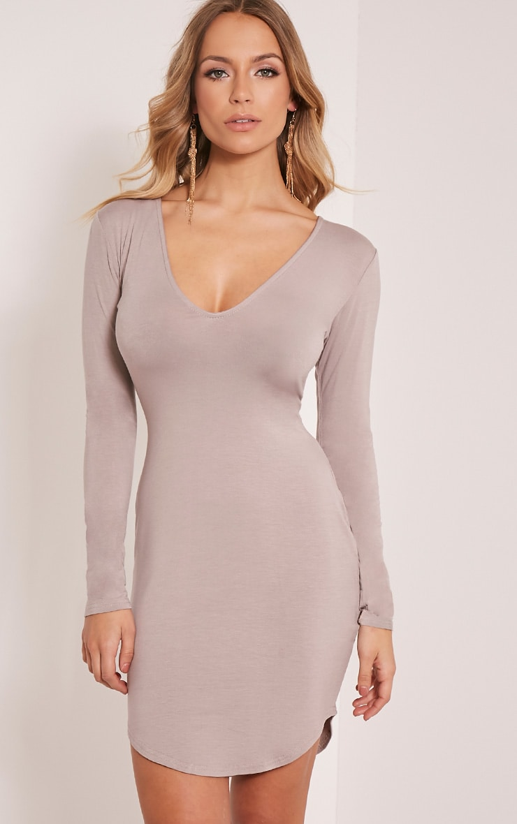 Alby Taupe Curve Hem Plunge Neck Dress 1