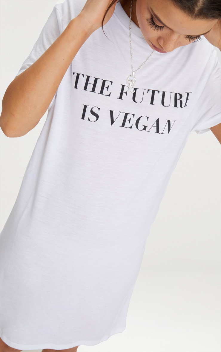 White The Future Is Vegan T-Shirt Dress 5