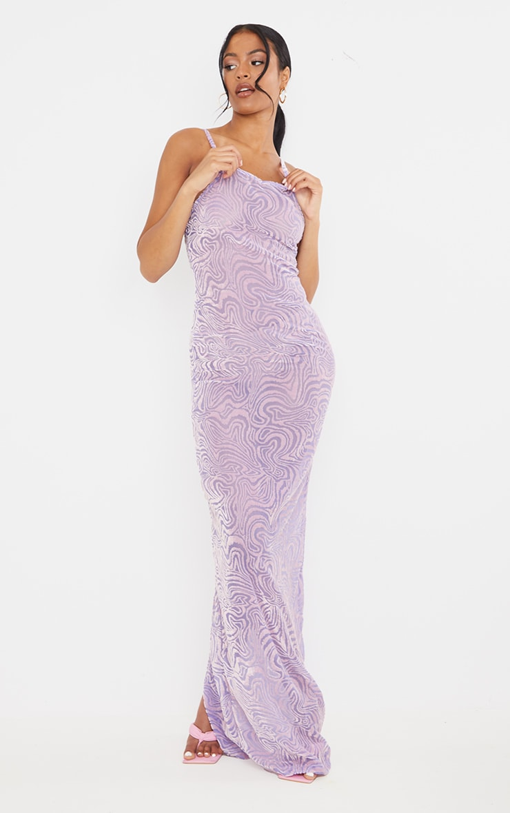 Tall Purple Burnt Out Strappy Maxi 1
