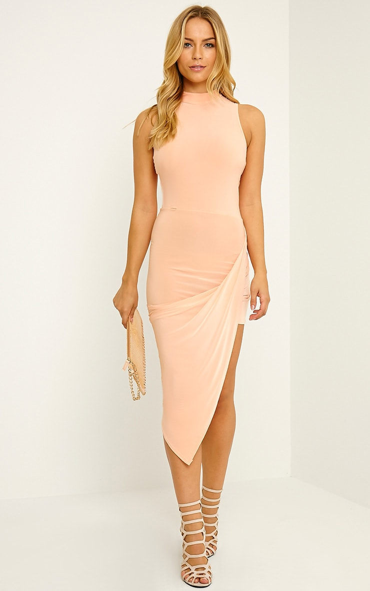 Prim Peach Slinky Drape Asymmetric Dress 1