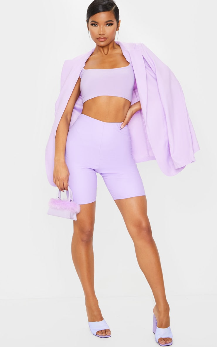 Lilac Faux Leather Bike Shorts 4
