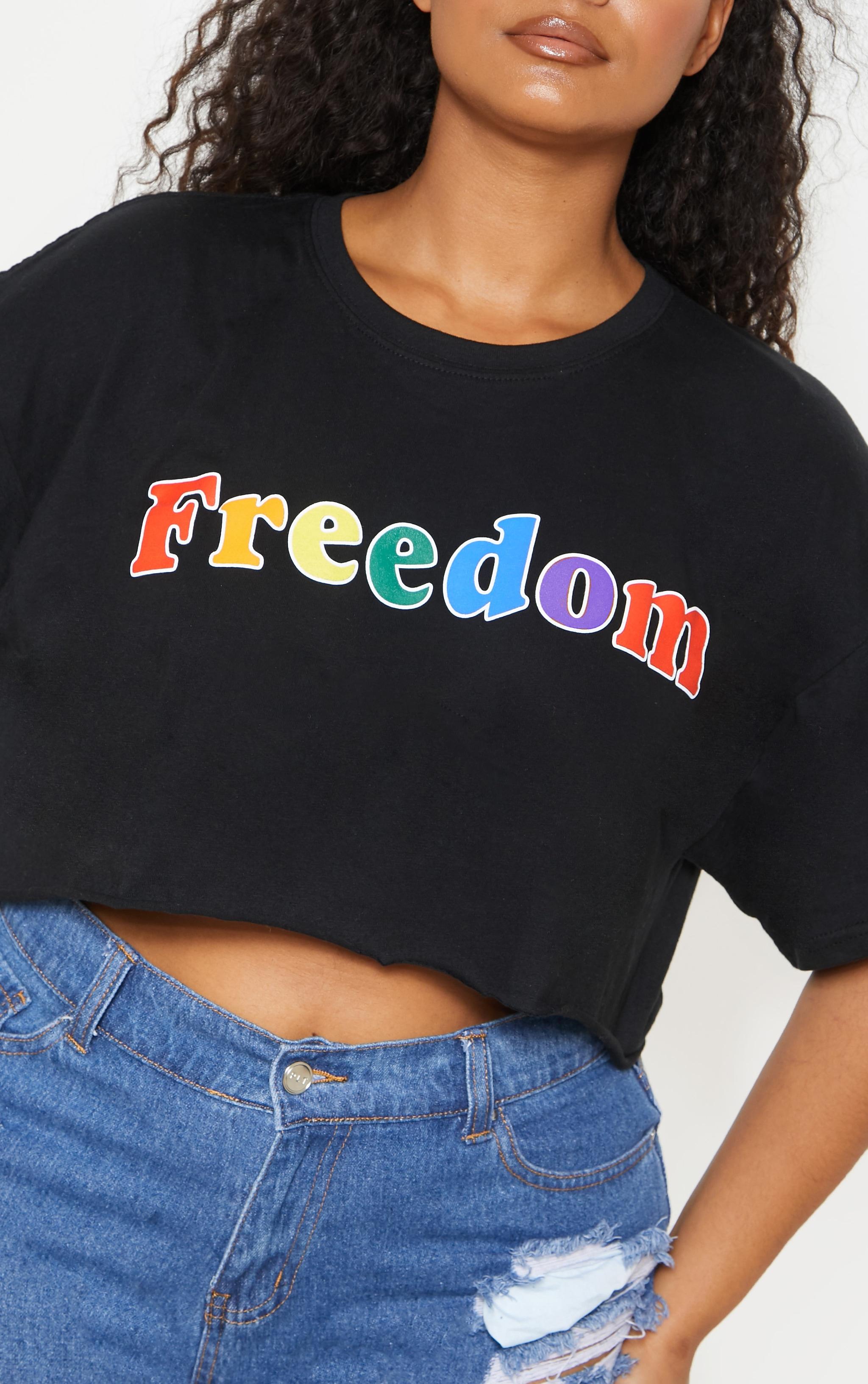 Plus Black FREEDOM Crop Tee 6
