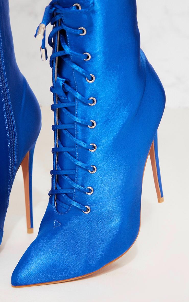 Cobalt Satin Lace Up Heeled Boot 5