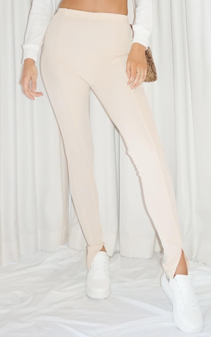 Tall Stone Ribbed Skinny Split Hem Pants 2