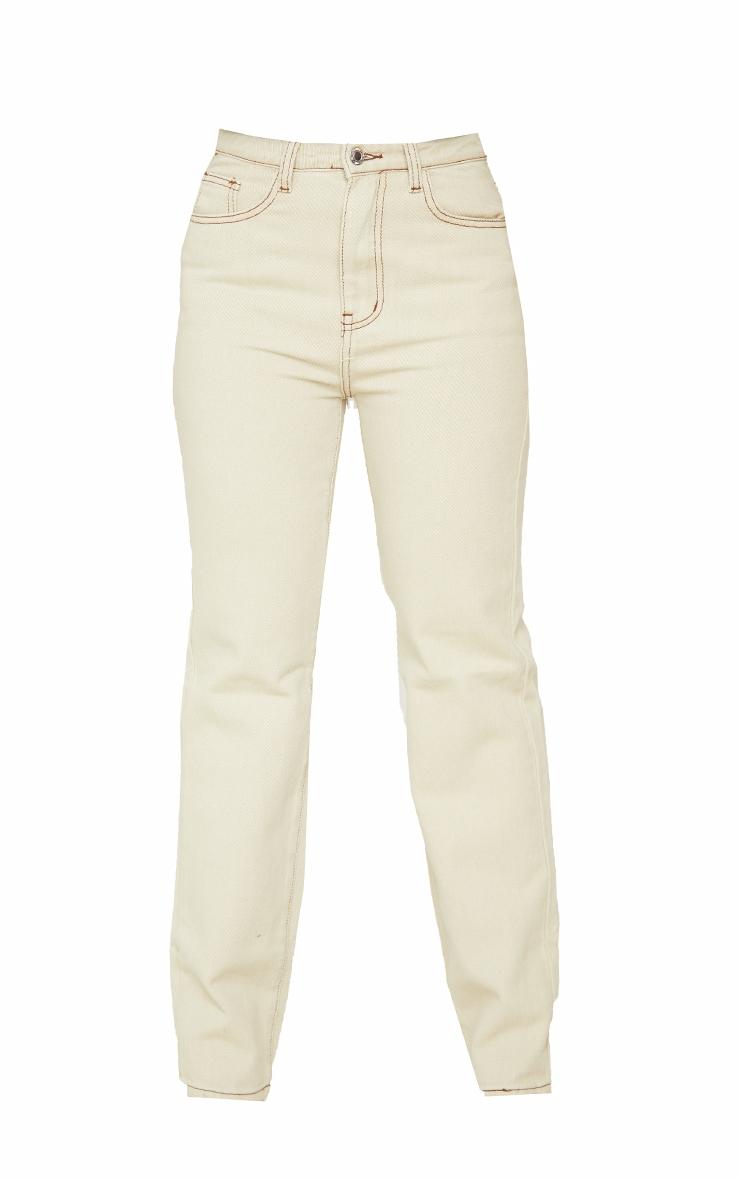 Petite Stone Contrast Stitch Long Leg Straight Jeans 5