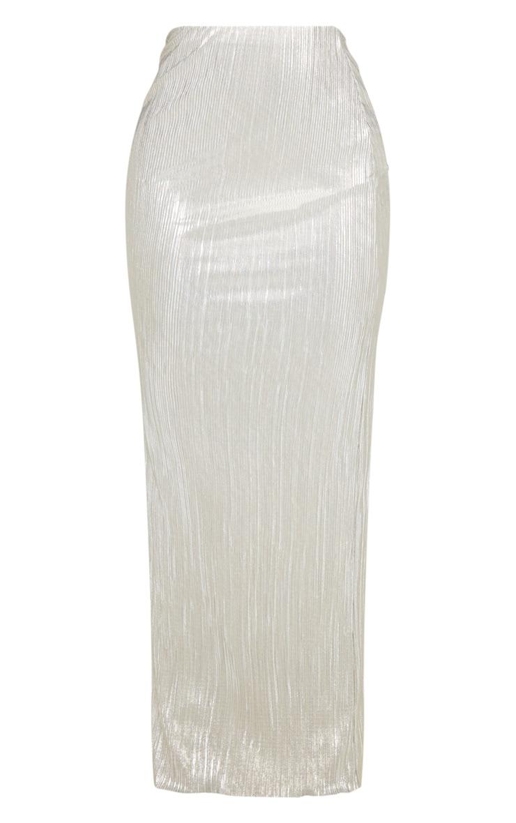 Longue jupe plissée dorée métallique  3