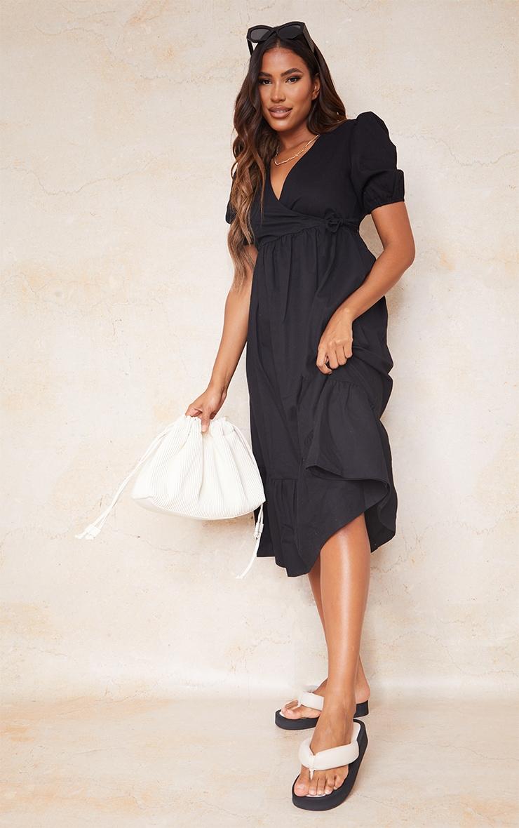 Black Woven Wrap Tie Detail Puff Sleeve Smock Midi Dress 3