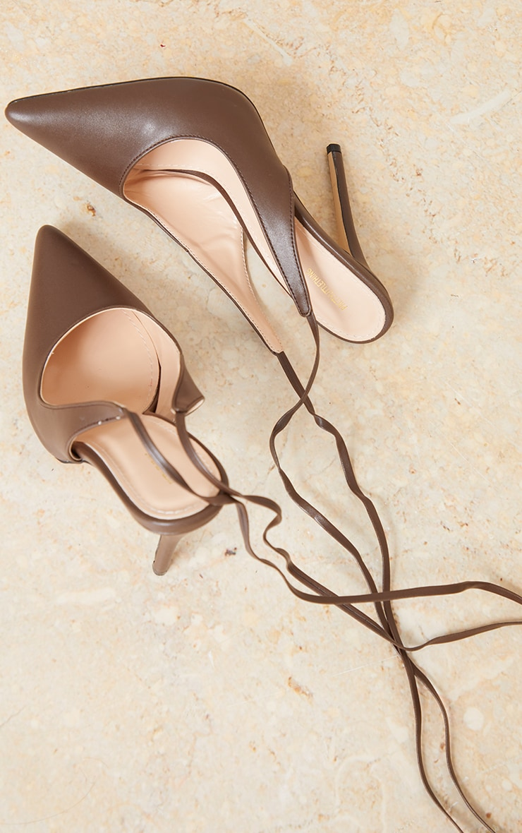 Chocolate PU Ankle Tie Court Shoe 4