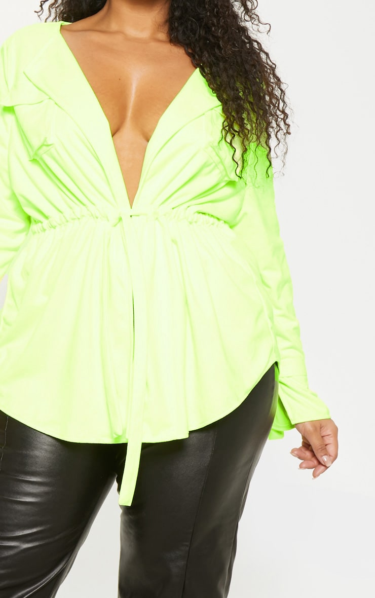 Plus Lime Faux Suede Cargo Ruched Waist Shirt 5