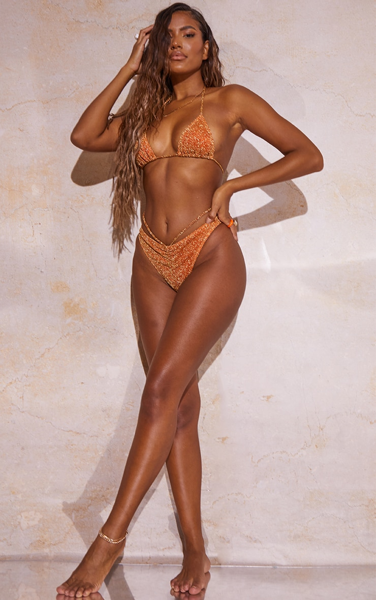 Orange Glitter Triangle Bikini Top 3