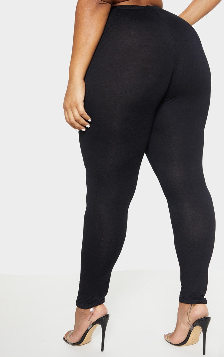 Plus Black Jersey Leggings 4
