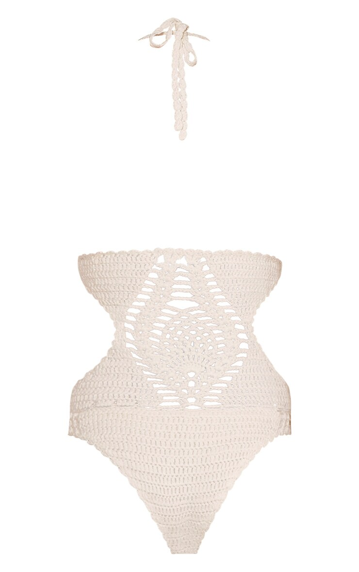 Aryah Cream Crochet Swimsuit 5