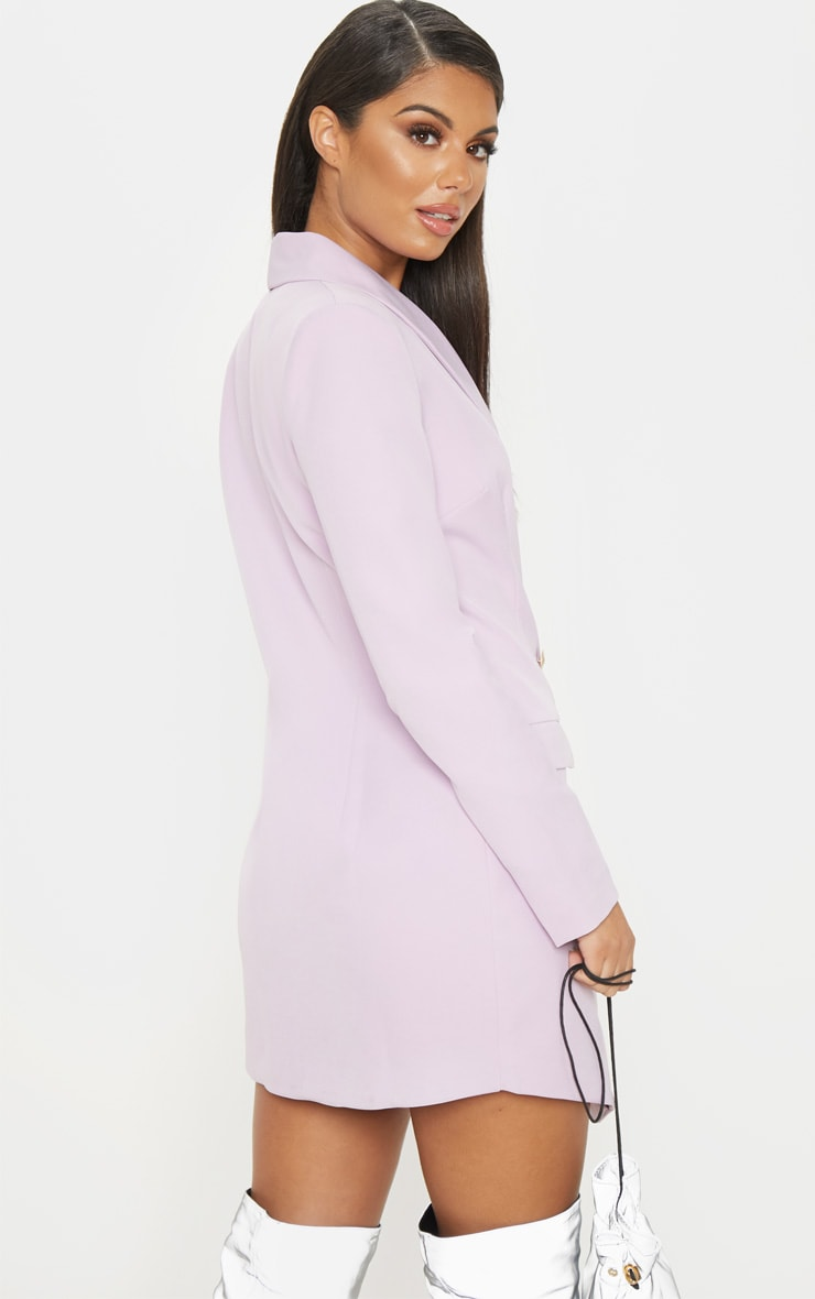 Lilac Gold Button Blazer Dress 2