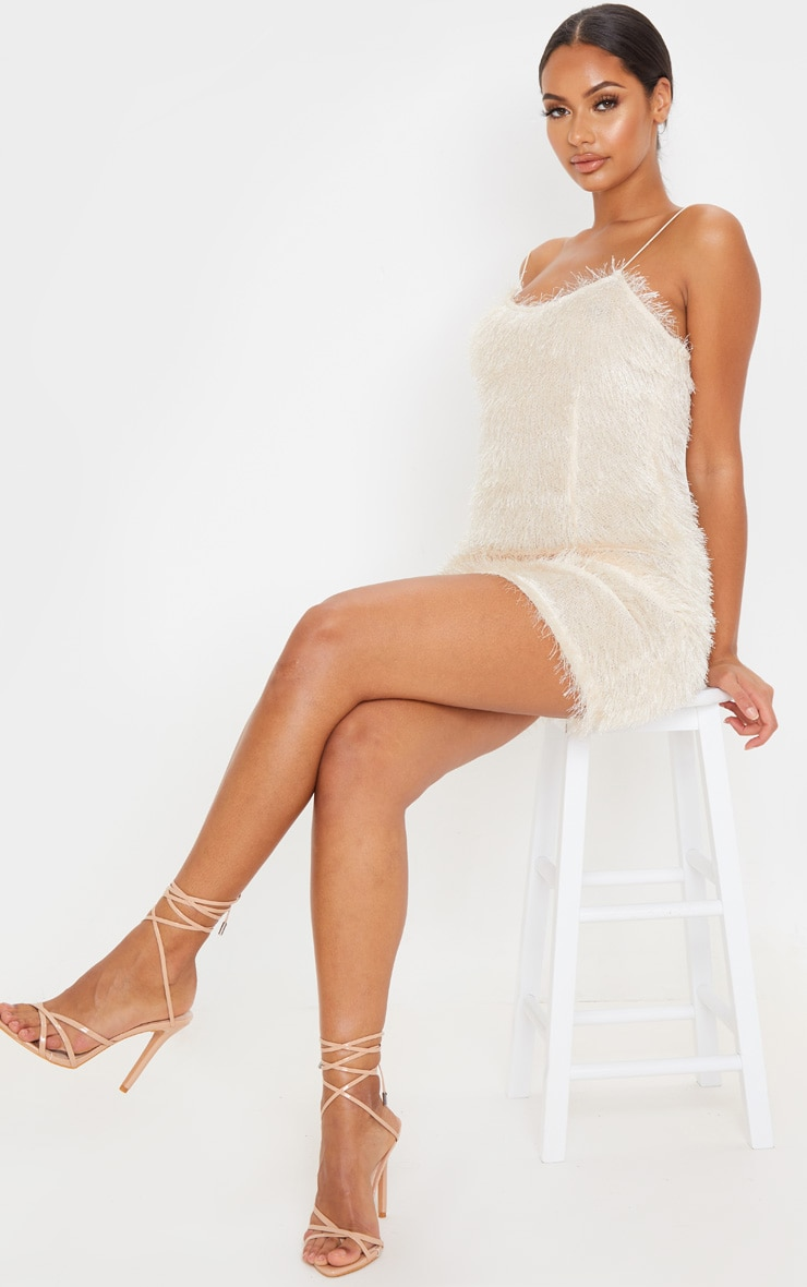 Champagne Tiered Fringed Strappy Bodycon Dress 4