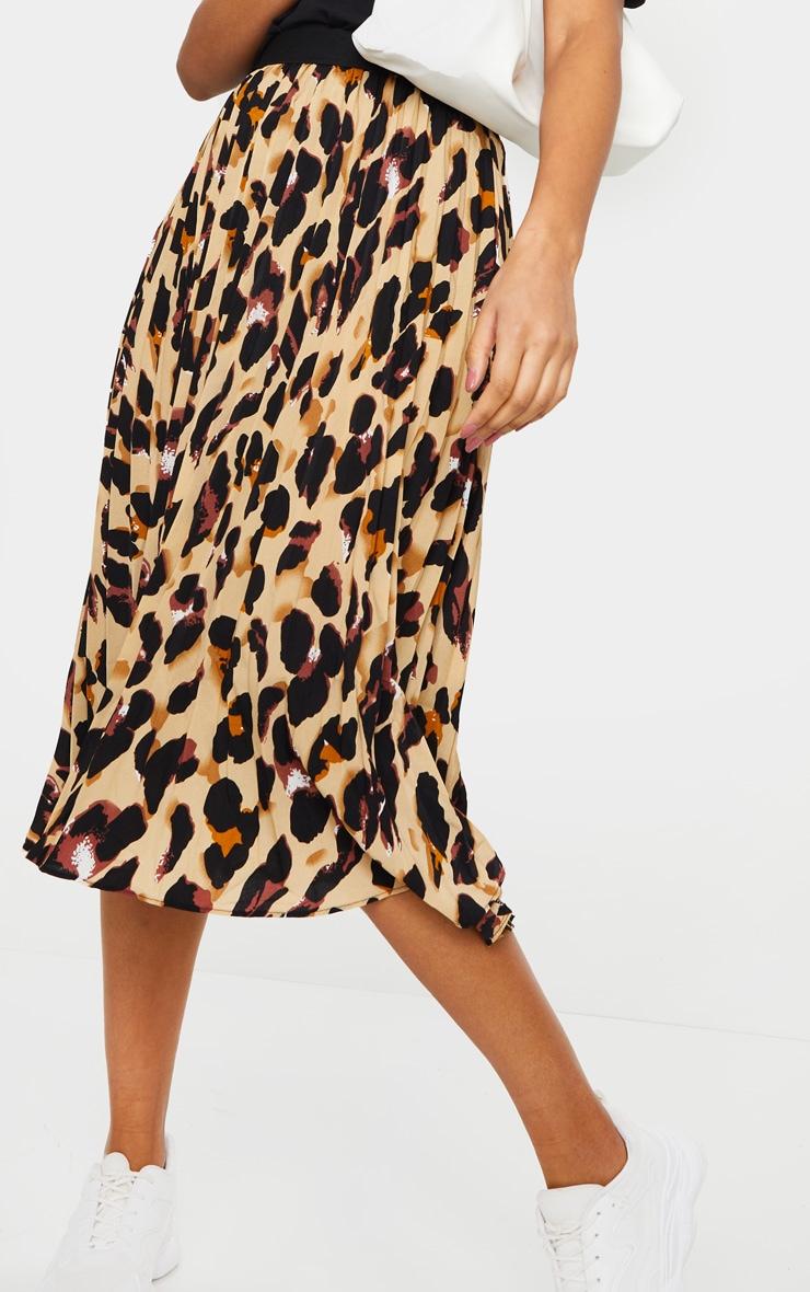Brown Leopard Satin Pleated Midi Skirt 2