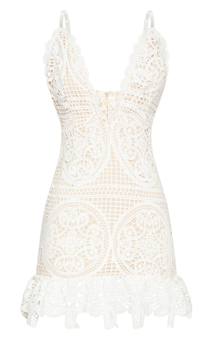 White Strappy Thick Lace Frill Hem Bodycon Dress 3