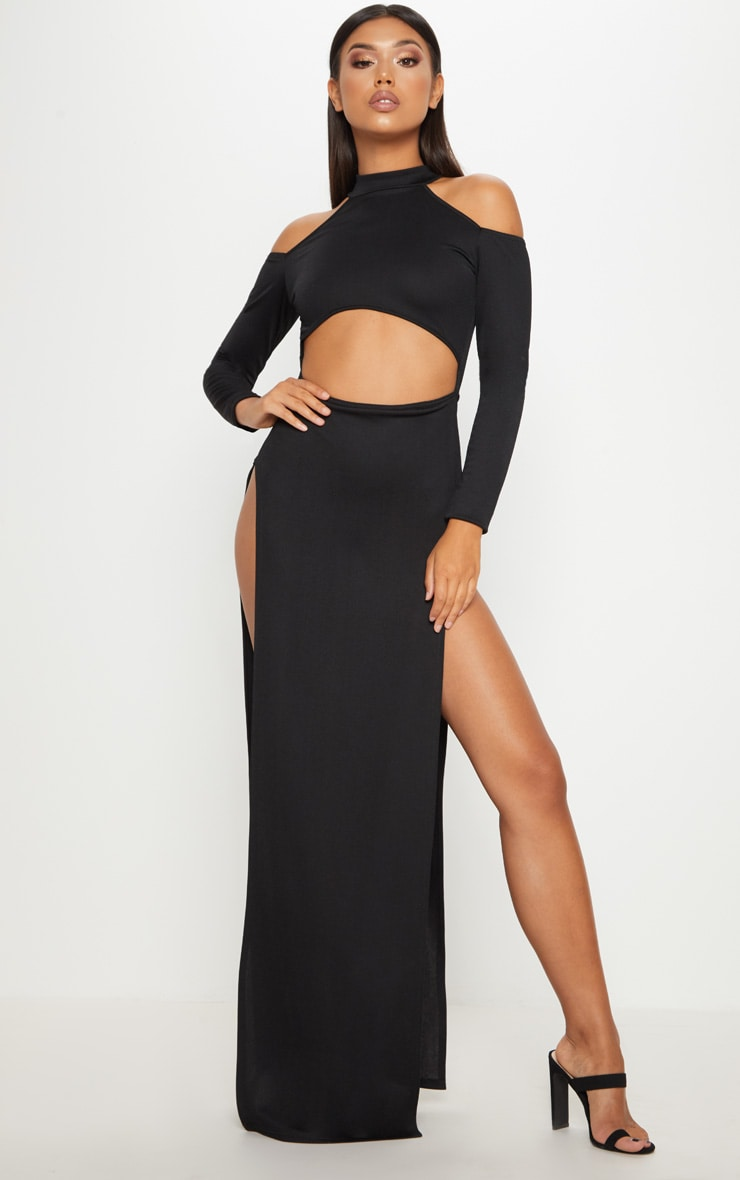Black Cold Shoulder Extreme Split Maxi Dress 1