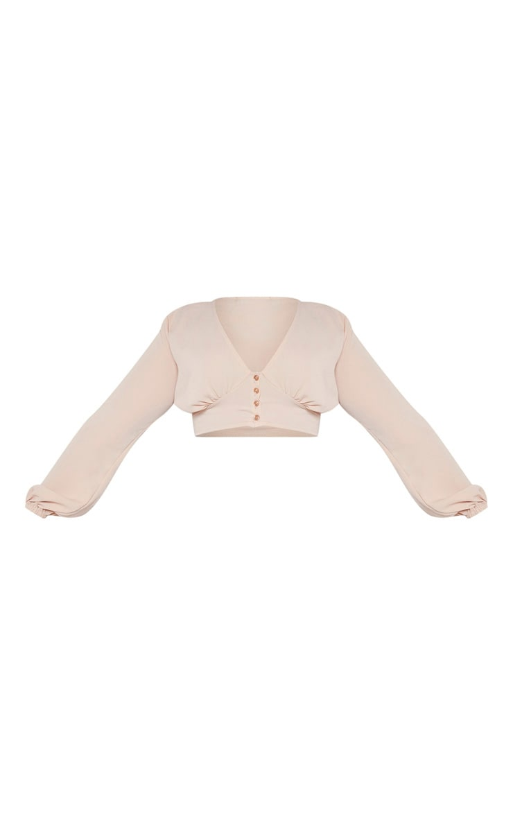 Plus Camel Button Front Crop Top  3