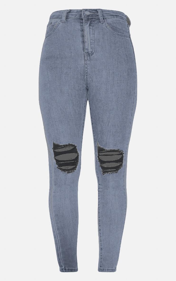 PRETTYLITTLETHING Grey Knee Rip Disco Skinny Jean 3