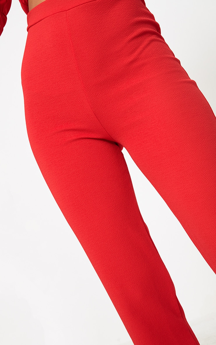 Red Straight Leg Suit Trousers 5