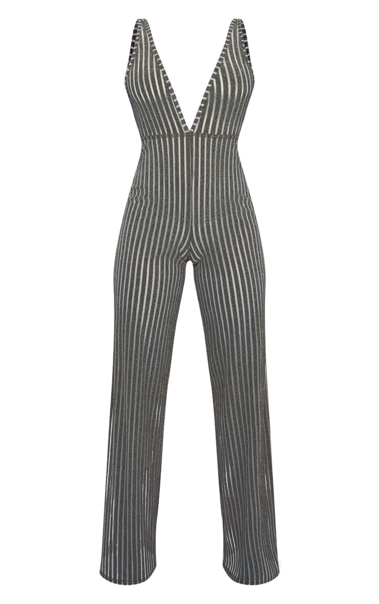 Gold Striped Glitter Plunge Jumpsuit 3