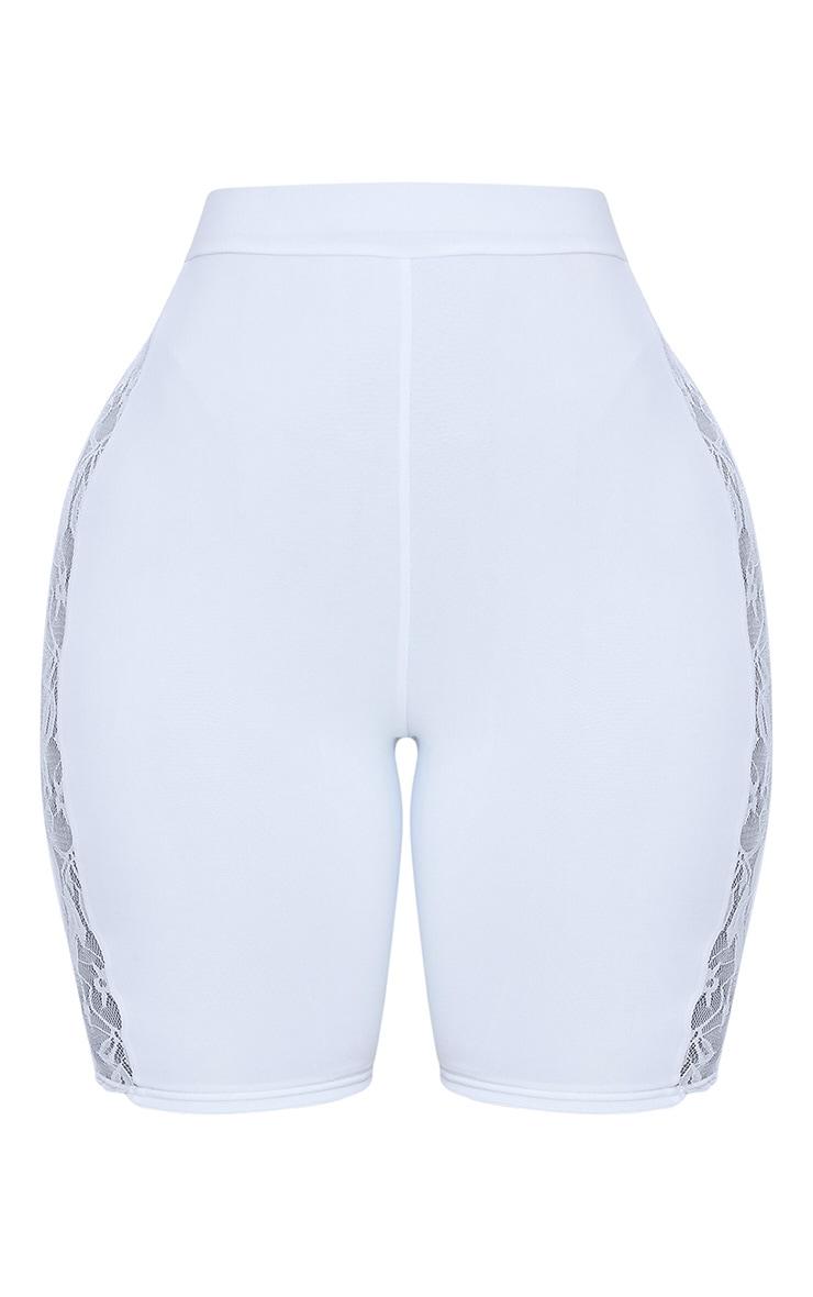 Shape White Slinky Lace Panel Cycling Shorts 3
