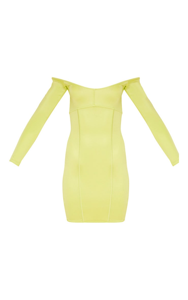 Lime Second Skin Bardot Binding Detail Bodycon Dress 3