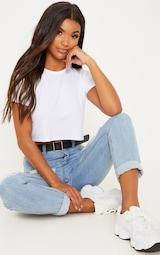 328c3eda3922b Basic White Roll Sleeve Crop T Shirt image 4