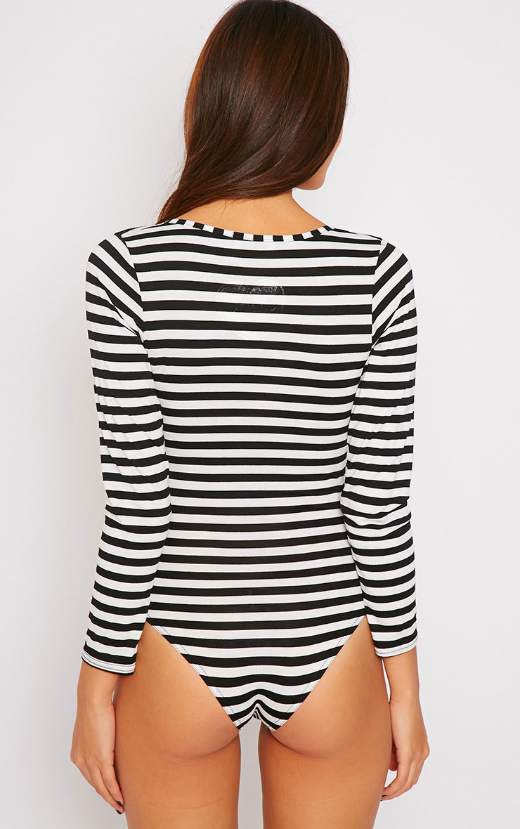 Lulu Monochrome Striped Wrap Over Plunge Bodysuit 4