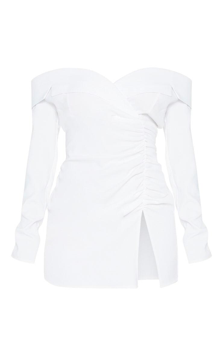 White Bardot Ruched Detail Blazer Style Dress 3