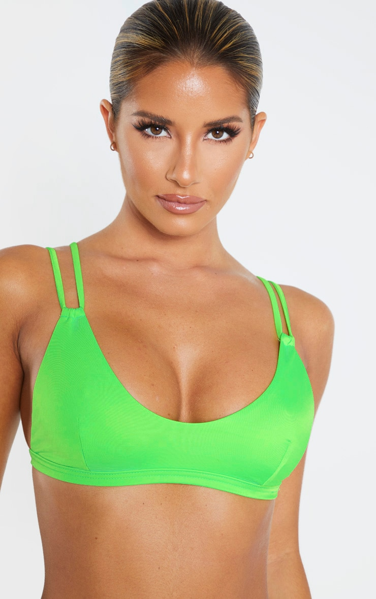 Lime Recycled Mix & Match Double Strap Scoop Bikini Top 5