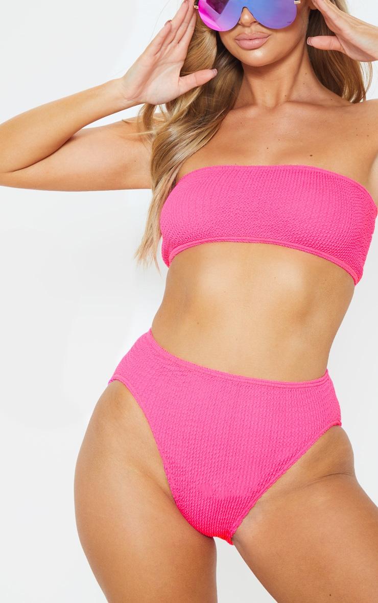 Neon Pink Crinkle Cheeky Bum Bikini Bottom 1